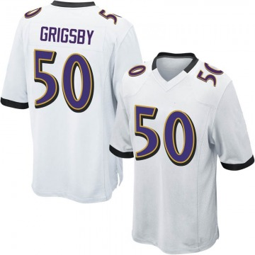 Youth Baltimore Ravens Nicholas Grigsby White Game Jersey By Nike